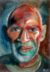 Black pride watercolor portrait