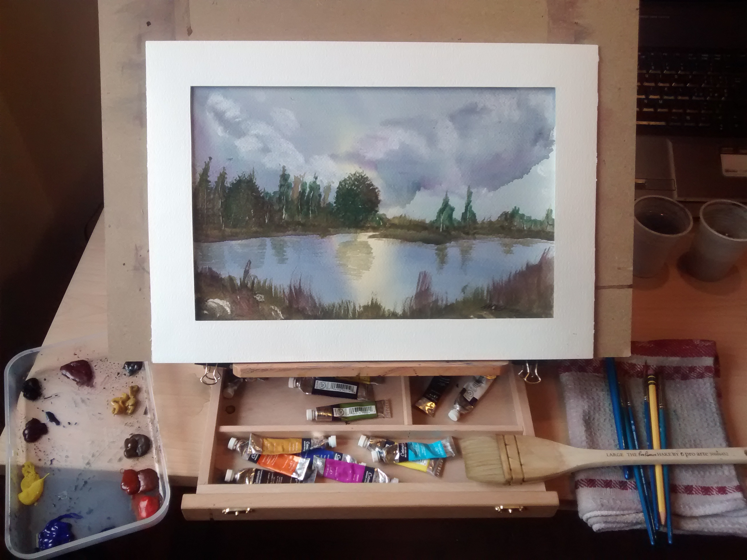 gentle lake in studio